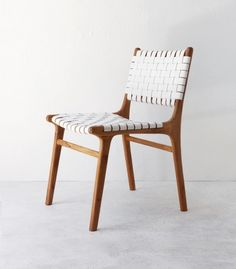 Leather & Wood Dining Chair / White