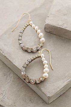 Pearled Ombre Hoops - anthropologie.com