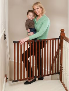 Angle Mount Wood Safeway Baby/pet Gate - Cherry Finish