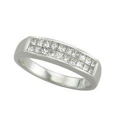 0.49 Carat Princess Diamond 14K White Gold Women Rings 3.23g: Ring Size: 7 (Sizable)