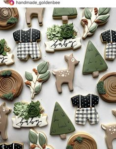 Swipe left to see all details!😍 - Really love vibe!🍰 - What do you think? Tag a… Christmas Baby Shower, Baby Shower Winter, Baby Boy Shower, Fancy Cookies, Royal Icing Cookies, Sugar Cookies, Spice Cookies, Cupcake Cakes, Cupcakes