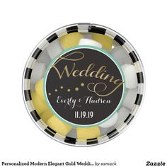 Personalized Modern Elegant Gold Wedding Chewing Gum Favors