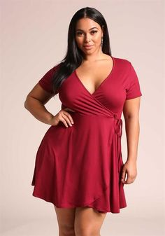 7e7b60392c 29.95---Plus Size Faux Wrap Surplice Flared Dress Curvy Women Outfits