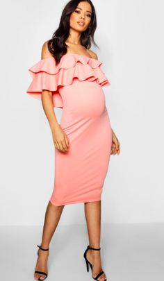 Beautiful off-the-shoulder maternity dress | Maternity Lauren Ruffle Off The Shoulder Midi Dress | maternity fashion | maternity wardrobe | maternity clothes | maternity dress | maternity style | pregnancy | bump | #affiliate #maternitydress