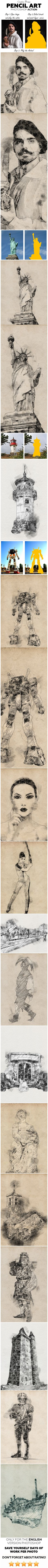 Pencil Art #Photoshop #Action - #Photo #Effects Actions