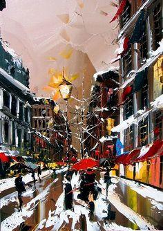 Kal Gajoum, city street, wet snow, slush, red umbrella