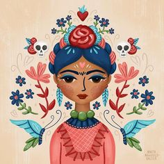"Frida Kahlo. ""Fierce Like Frida"" illustration."
