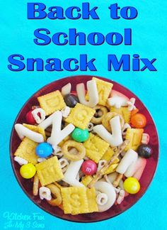 Back to School Snack Mix ~ Letter & Number Crackers (Kroger); Scrabble Crackers (Cheez-It); Pretzels (for l's & O's); Pretzel M's; Alpha-Bits Cereal; and Alphabet Cookies (Trader Joe's)