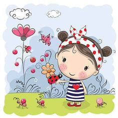 Illustration about Cute Cartoon Girl with ladybug on a meadow. Illustration of cloud, blue, design - 77530235 Illustration Mignonne, Cute Illustration, Cute Images, Cute Pictures, Cartoon Mignon, Art Mignon, Cute Cartoon Girl, Vector Flowers, Emoticon