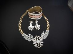 Gold Tone White Crystal Necklace Set