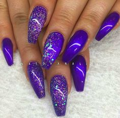 Nail art Christmas - the festive spirit on the nails. Over 70 creative ideas and tutorials - My Nails Purple Acrylic Nails, Purple Nail Art, Purple Nail Designs, Best Acrylic Nails, Acrylic Nail Designs, Nail Art Designs, Purple Nails With Glitter, Colorful Nails, Pink Design