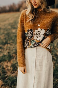 Fur Sweater with Floral Print | ROOLEE
