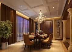 Enchanting Decor Ideas For Dining Room Crystal Chandelier Above Square Table With Modern Leather Chairs And Flower Vase Also Using Brown Curtains