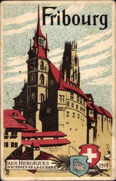 Hôtel de Ville et Cathédrale Saint-Nicolas Fribourg - Switzerland, 1917.