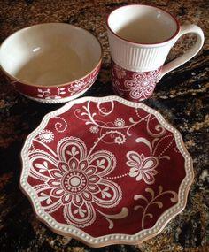 PIER 1 Maribeth Red Cream China Plate Mug Bowl Lot NIB NEW!!!! #Pier1