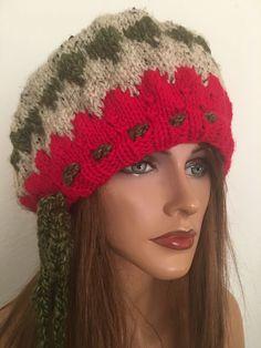 Hand Knits 3 Love Slouch Hat Beanie Beret Chemo Cap Christmas Spirit Designer   | eBay