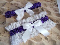 Purple Wedding Garter Bridal Set by jbconaway on Etsy, $14.99