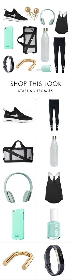 """""""mint gold black"""" by catsandcupcakes ❤ liked on Polyvore featuring NIKE, adidas Originals, adidas, S'well, Zimmermann, Essie, Fitbit and Bling Jewelry"""