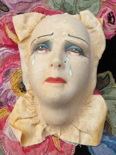 RARE ANTIQUE BOUDOIR DOLL HEAD PIERROT DOLL VELVET C 1920