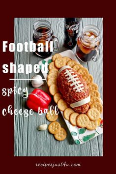 This spicy cheese ball is shaped like a football and covered in bacon bits for the ultimate party appetizer for the Super Bowl or any game day. #SuperBowl #football #cheeseball Appetizers For Party, Appetizer Recipes, Cheese Ball Recipes, Ritz Crackers, Bacon Bits, Super Bowl, Holiday Recipes, Spicy, Football