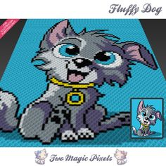 Fluffy Dog crochet blanket pattern; knitting, cross stitch graph; pdf download; no written counts or row-by-row instructions by TwoMagicPixels, $3.79 USD