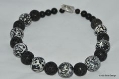 Black and White polymer beads with volcanic stone beads
