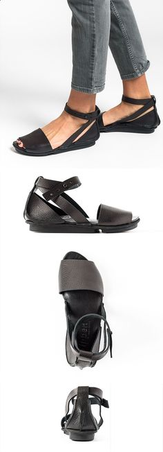 Sandals Summer $325.00 | Trippen Iris Sandal in Black | Trippen shoes are exceptional in design and committed to environmentally conscious production. Made from vegetable tanned leather and rubber soles for comfort. The black leather sandal is perfect for spring and summer. Sold online and in-store in Workshop in Santa Fe, New Mexico as the largest collection in the USA. - There is nothing more comfortable and cool to wear on your feet during the heat season than some flat sandals.