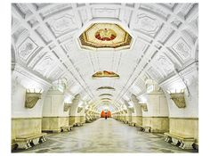 Soviet Era subway station in Moscow Russia. - Architecture and Historic Places - Buildings - Amazing Travel Photography and Sightseeing Destinations Russian Architecture, Interior Architecture, David Burdeny, U Bahn Station, Moscow Metro, Blue Drawings, Art Et Design, Future Photos, Metro Station