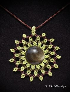 STATEMENT necklace MANDALA with golden sheen OBSIDIAN stone, macrame necklace handmade by ARUMIdesign