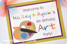art party invitation Art Themed Party, Unicorn Themed Birthday Party, Art Birthday, Birthday Party Themes, Birthday Ideas, Art Party Invitations, Invitation Ideas, Invites, Party On Garth