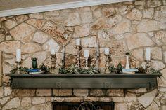 Candlestick Holders, Milk Jars, Faux Greenery, Books, Depression Glass, Blue Jars  P.C. Misty Mclendon Photography Milk Jars, Faux Succulents, Texas Hill Country, Tree Lighting, Twinkle Lights, Mantle, Boho Wedding, Wedding Styles, Garland