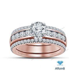 2.24CT Round Cut D/VVS1 Diamond 925 Silver Engagement Ring & Multiple Band Set #Affoin8
