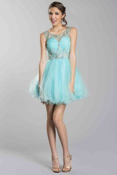 2014 Short/Mini Tulle Scoop Neckline Dress Beaded&Pleated With Tulle Skirt