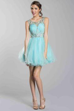 2014 Short/Mini Tulle Scoop Neckline Dress Beaded&Pleated With Tulle Skirt