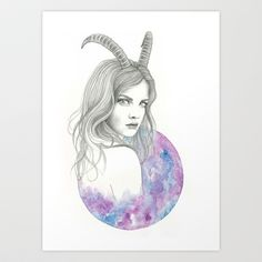 Zodiac+-+Capricorn+Art+Print+by+Simona+Borstnar+-+$17.68