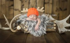 New Born Baby Photography Picture Description Newborn Photos   Newborn Photography   Newborn Boy   Newborn Siblings shots   © Paige Laro Photography   Studio Photography   Orange hat   Creations by coralee   Crochet   Hunting Theme   www.PaigeLaroPhot…