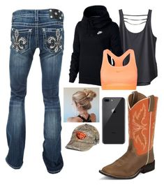 """OOTD 2.9.18"" by mud-lovin-redneck ❤ liked on Polyvore featuring Miss Me, Kavu, NIKE, Justin Boots and Top of the World"