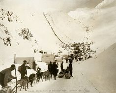 ALASKAN GOLD RUSH: Prospectors in Tent Settlement at Chilkoot Pass Thousands of prospectors pack their supplies in the Scales settlement and weigh station to scramble up the trails to Chilkoot Pass. One ton of supplies to last a year was required to make the trip to the gold fields of the Klondike.