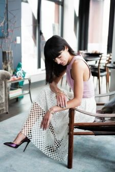 Athena of blog Eye Swoon in the Sonoran Eyelet skirt