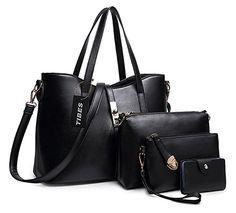 c3c0ba7ca852 Tibes Fashion Women s PU Leather Handbag+Shoulder Bag+Purse+Card Holder  4pcs Set