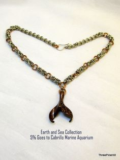 Bronze Whale Tail on Byzantine Chainmaille Neckace - Earth and Sea Collection - 5% Goes to Cabrillo Marine Aquarium by ThreePineHill on Etsy