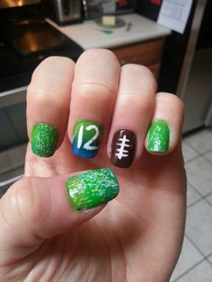 My nails for 9-15-13 Seahawks game! GO HAWKS!!!! Win