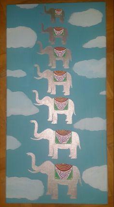 #elephant #cloud #blue #sky #flying #painting #canvas