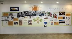 NOW Foods Corporation Timeline Wall - The background of the timeline wall was printed on durable canvas wall covering and the dimensional elements are photographs on cleated acrylic panels.