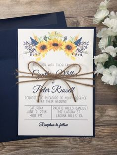 The beach is the most popular destination wedding theme nowadays and numerous brides desire to start their wedding event style off right with a gorgeous beach theme wedding invitation. Sunflower Wedding Invitations, Navy Wedding Invitations, Rustic Invitations, Sunflower Weddings, Invites, Lilac Wedding, Wedding Bouquets, Pink Weddings, Wedding Dresses