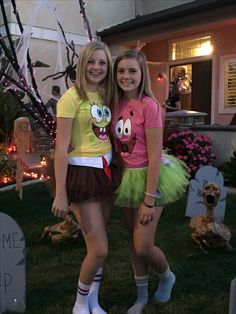 Sponge Bob and Patrick girls diy costumes  sc 1 st  Pinterest & How to dress like Spongebob characters | Fall | Pinterest | Costumes ...