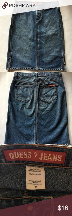 Guess Jeans - Cute Soft Denim Skirt Guess Jeans Brand soft denim knee length skirt, women's size 27.  In great preowned condition. Please be sure to check out all of my other boutique items to bundle and save. Same day or next business day shipping is guaranteed. Reasonable offers are considered! Guess Skirts Midi Jeans Fashion, Fashion Tips, Fashion Design, Fashion Trends, Denim Skirt, Midi Skirt, Guess Jeans, Women's Jeans, Jeans Brands