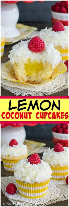 Lemon Coconut Cupcakes - coconut and lemon pie filling give these cupcakes a fun flair. Great dessert recipe.