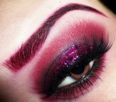 Black cherry makeup look with a hint of loose glitter. Cute!