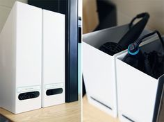 The steel containers are perfect for holding a hair dryer, curling rod and hair straightener.  Just be sure to select a finish that won't be impacted by the heat of the tools.